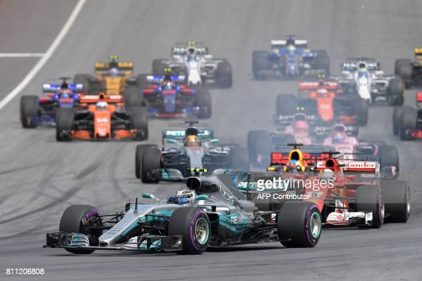 TOPSHOT Mercedes' Finnish driver Valtteri Bottas drives after the start during the Formula One Austria Grand Prix at the Red Bull Ring in Spielberg...