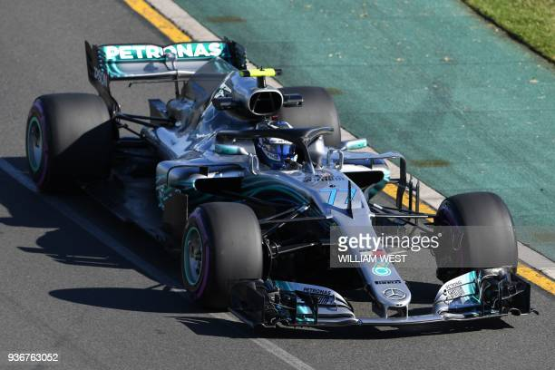 Mercedes' Finnish driver Valtteri Bottas drives around the Albert Park circuit during the second Formula One practice session in Melbourne on March...