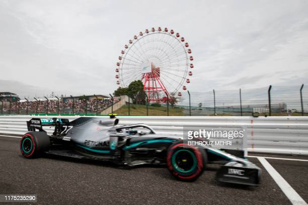 Mercedes' Finnish driver Valtteri Bottas drives during the first practice session for the Formula One Japanese Grand Prix in Suzuka on October 11,...