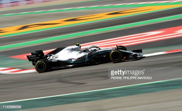 TOPSHOT Mercedes' Finnish driver Valtteri Bottas drives during the second practice session at the Circuit de Catalunya on May 10 2019 in Montmelo on...