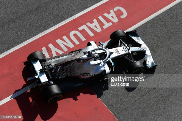TOPSHOT Mercedes' Finnish driver Valtteri Bottas drives during the tests for the new Formula One Grand Prix season at the Circuit de Catalunya in...
