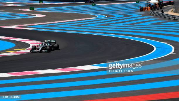Mercedes' Finnish driver Valtteri Bottas drives during the third practice session at the Circuit Paul Ricard in Le Castellet, southern France, on...