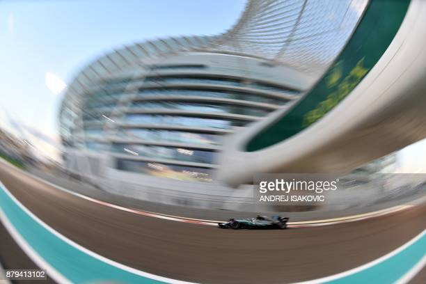 TOPSHOT Mercedes' Finnish driver Valtteri Bottas steers his car during the Abu Dhabi Formula One Grand Prix at the Yas Marina circuit on November 26...