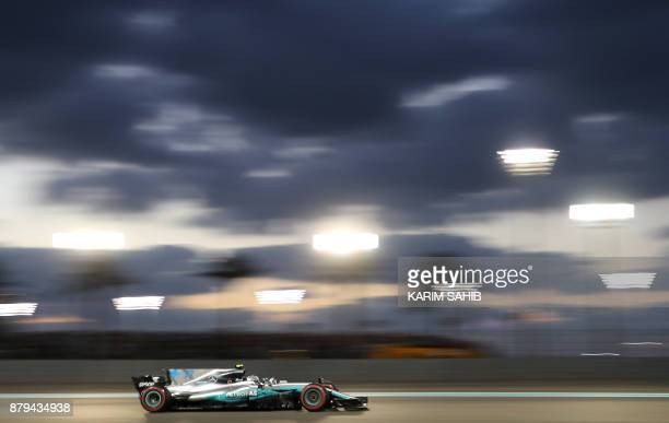 TOPSHOT Mercedes' Finnish driver Valtteri Bottas steers his car during the Abu Dhabi Formula One Grand Prix at the Yas Marina circuit on November 26...