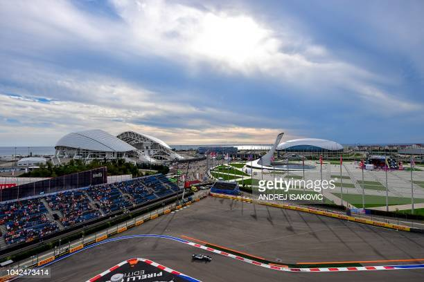 Mercedes' Finnish driver Valtteri Bottas steers his car during the second practice session of the Formula One Russian Grand Prix at the Sochi...
