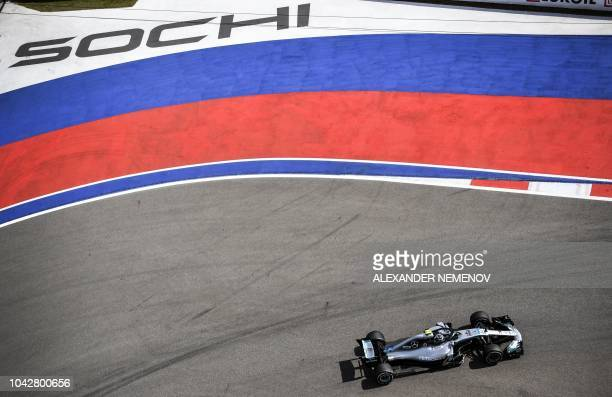 TOPSHOT Mercedes' Finnish driver Valtteri Bottas steers his car during the third practice session of the Formula One Russian Grand Prix at the Sochi...