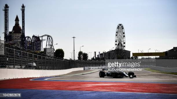 Mercedes' Finnish driver Valtteri Bottas steers his car during the qualifying session for the Formula One Russian Grand Prix at the Sochi Autodrom...