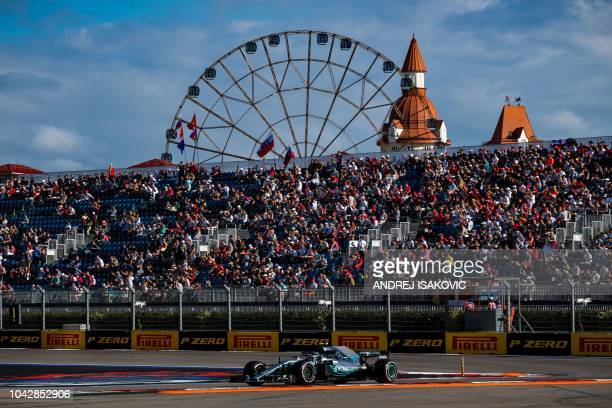 TOPSHOT Mercedes' Finnish driver Valtteri Bottas steers his car during the qualifying session for the Formula One Russian Grand Prix at the Sochi...