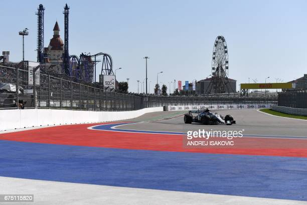 Mercedes' Finnish driver Valtteri Bottas steers his car during the Formula One Russian Grand Prix at the Sochi Autodrom circuit in Sochi on April 30,...