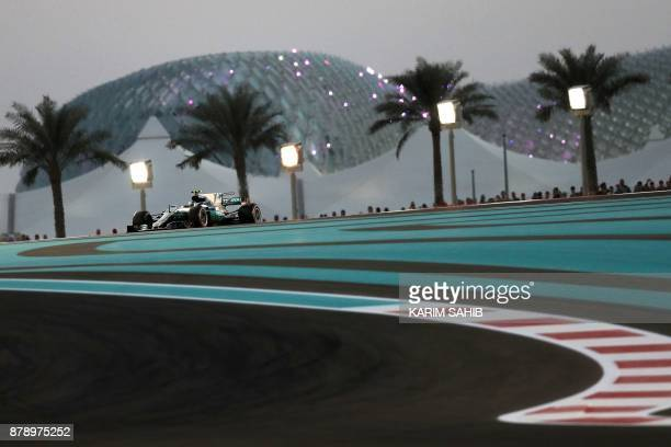 Mercedes' Finnish driver Valtteri Bottas steers his car during the qualifying session ahead of the Abu Dhabi Formula One Grand Prix at the Yas Marina...
