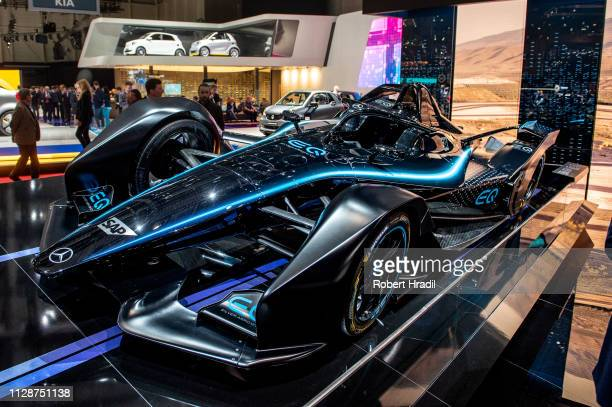 Mercedes formula-e car is displayed during the first press day at the 89th Geneva International Motor Show on March 5, 2019 in Geneva, Switzerland.