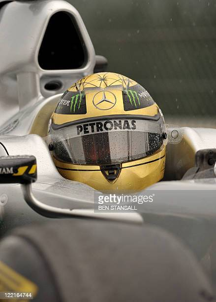 Mercedes' German driver Michael Schumacher drives at the SpaFrancorchamps circuit on August 26 2011 in Spa during the first practice session of the...