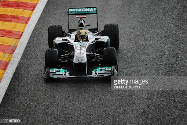 Mercedes' German driver Michael Schumacher drives at the SpaFrancorchamps circuit on August 26 2011 in Spa during the second practice session of the...