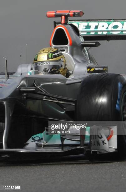 Mercedes' German driver Michael Schumacher drives at the SpaFrancorchamps circuit on August 27 2011 in Spa during the qualifiying session of the...