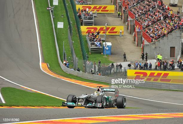Mercedes' German driver Michael Schumacher drives at the SpaFrancorchamps circuit on August 28 2011 in Spa during the Belgium Formula One Grand Prix...