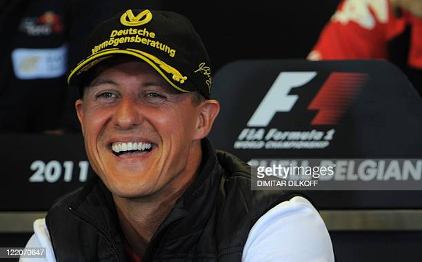 Mercedes' German driver Michael Schumacher sits during a press conference on August 25 2011 in Spa ahead of the Belgium Formula One Grand Prix AFP...