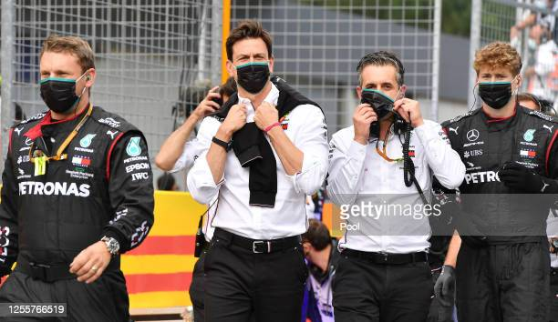 Mercedes GP Executive Director Toto Wolff and team members look on from parc ferme after the Formula One Grand Prix of Styria at Red Bull Ring on...