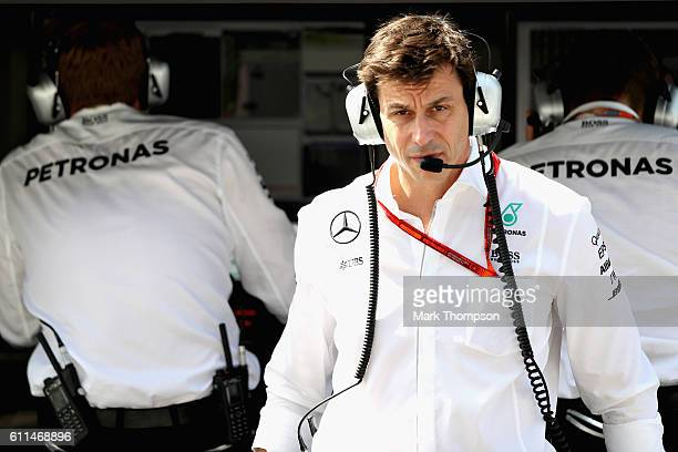 Mercedes GP Executive Director Toto Wolff in the Pitlane during practice for the Malaysia Formula One Grand Prix at Sepang Circuit on September 30...