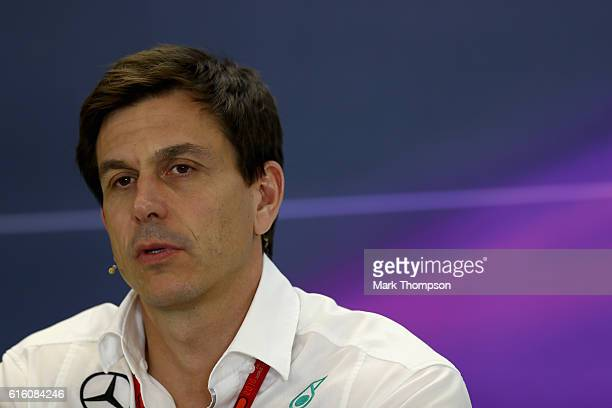 Mercedes GP Executive Director Toto Wolff in the Team Principals Press Conference during practice for the United States Formula One Grand Prix at...
