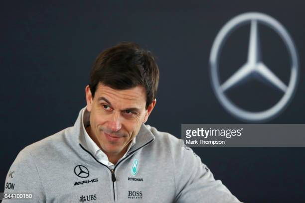 Mercedes GP Executive Director Toto Wolff looks on during a press conference after the launch of the Mercedes formula one team's 2017 car the W08 at...