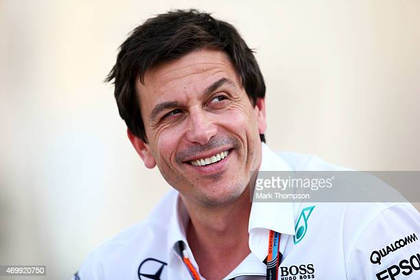 Mercedes GP Executive Director Toto Wolff looks on during previews to the Bahrain Formula One Grand Prix at Bahrain International Circuit on April 16...