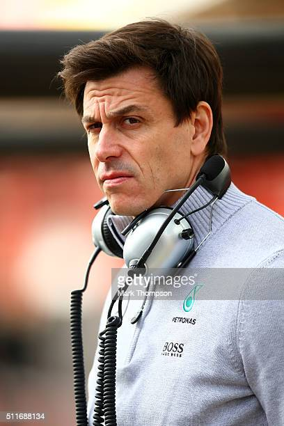 Mercedes GP Executive Director Toto Wolff looks on in the pit lane during day one of F1 winter testing at Circuit de Catalunya on February 22 2016 in...