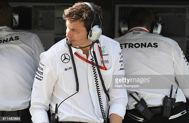 Mercedes GP Executive Director Toto Wolff on the pitwall during practice for the Malaysia Formula One Grand Prix at Sepang Circuit on September 30...