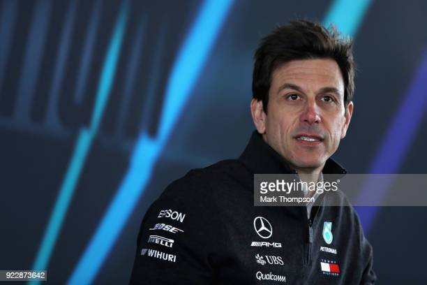 Mercedes GP Executive Director Toto Wolff talks during the launch of the Mercedes Formula One team's 2018 car the W09 at Silverstone Circuit on...