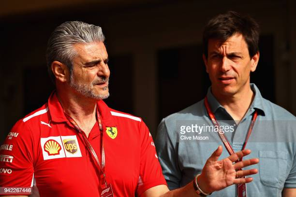 Mercedes GP Executive Director Toto Wolff talks with Ferrari Team Principal Maurizio Arrivabene in the Paddock during previews ahead of the Bahrain...