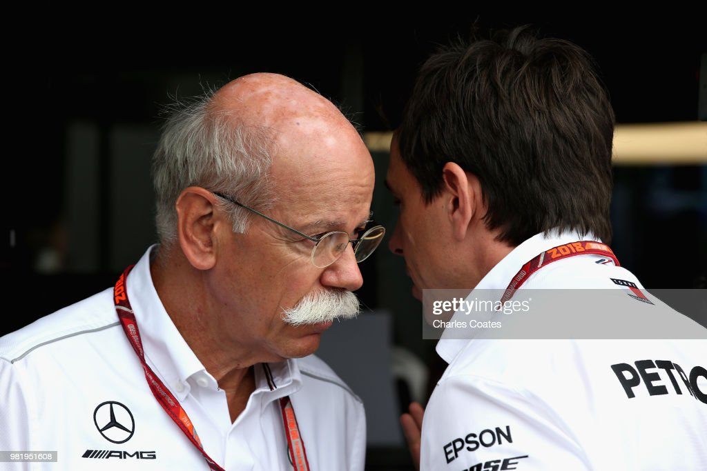 Mercedes GP Executive Director Toto Wolff talks with Head of Mercedes Cars Dieter Zetsche in the garage during final practice for the Formula One Grand Prix of France at Circuit Paul Ricard on June 23, 2018 in Le Castellet, France.