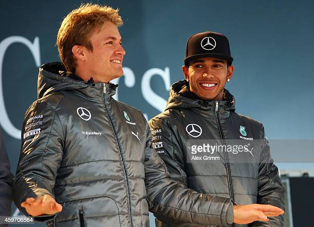 Mercedes GP Formula One drivers Nico Rosberg of Germany and Lewis Hamilton of Great Britain on stage during the annual Mercedes Benz Stars & Cars...