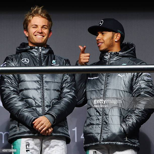 Mercedes GP Formula One drivers Nico Rosberg of Germany and Lewis Hamilton of Great Britain on the stage during the annual Mercedes Benz Stars & Cars...