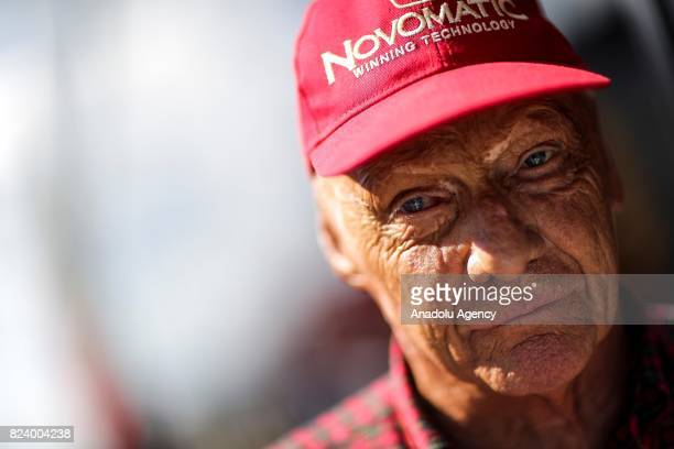 Mercedes GP nonexecutive chairman Niki Lauda in the Paddock after practice for the Formula One Grand Prix of Hungary at Hungaroring on July 28 2017...
