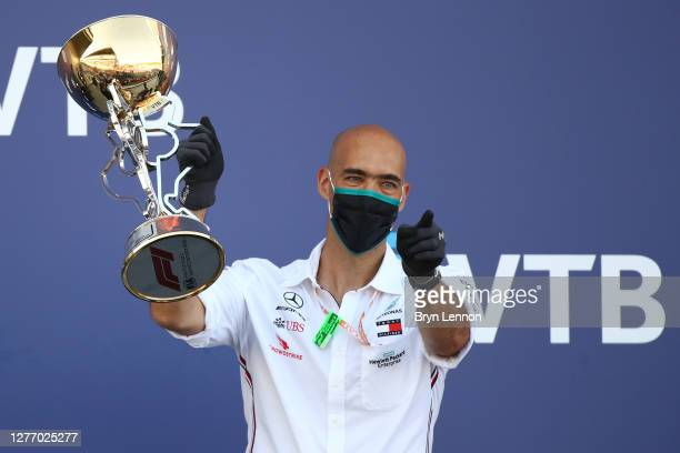 Mercedes GP race engineer Dominique Riefstahl celebrates on the podium during the F1 Grand Prix of Russia at Sochi Autodrom on September 27 2020 in...
