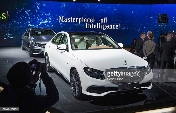 Mercedes introduces their new EClass during a media preview before the start of the North American International Auto Show on January 10 2016 in...