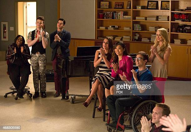 Mercedes Kurt Blaine Rachel Tina Artie and Kitty watch Will and Sam perform in the special twohour 2009/Dreams Come True Series Finale episode of...