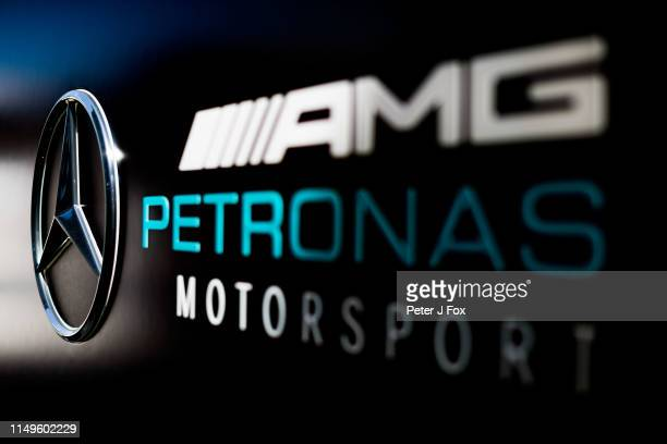 Mercedes logo during the F1 Grand Prix of Spain at Circuit de Barcelona-Catalunya on May 12, 2019 in Barcelona, Spain.