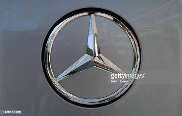 Mercedes logo is seen on a fullyelectric MercedesBenz EQC 400 4MATIC SUV automobile on June 26 2019 in Stuttgart Germany The electric range of...