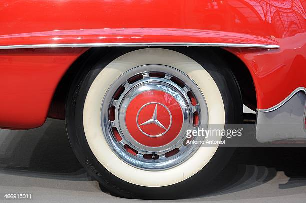 Mercedes logo is seen on the wheel of a vintage car during an exhibition by Bonhams auction house at Le Grand Palais on February 5 2014 in Paris...