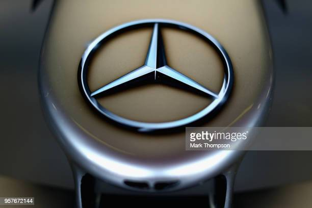 Mercedes logo on the car in the garage during qualifying for the Spanish Formula One Grand Prix at Circuit de Catalunya on May 12 2018 in Montmelo...