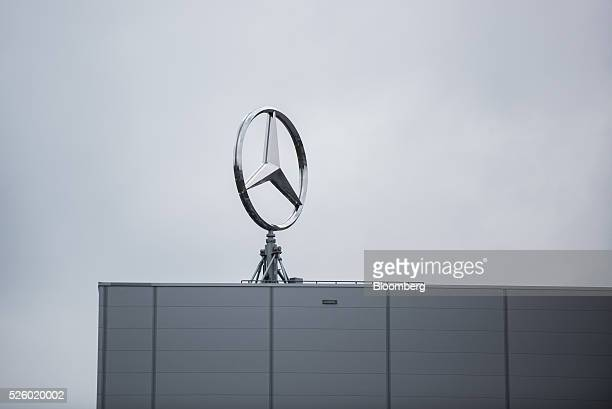 A Mercedes logo sits above the MercedesBenz AG automobile plant operated by Daimler AG in Kecskemet Hungary on Friday April 29 2016 Daimler's...