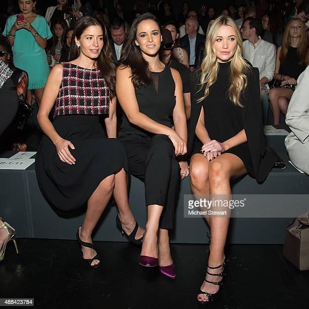 Mercedes Masohn, Melissa Fumero and Katrina Bowden attend the Badgley Mischka fashion show during Spring 2016 New York Fashion Week at The Arc,...