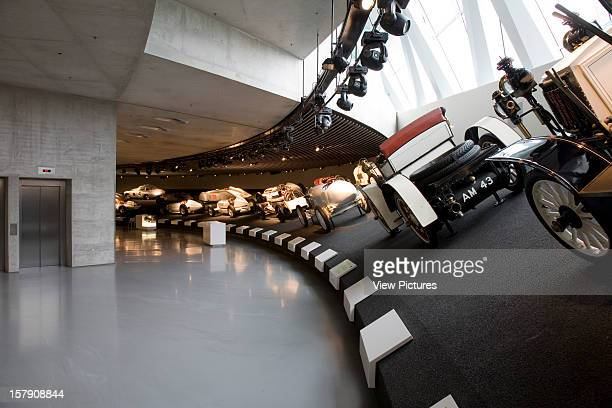 Mercedes Museum, Stuttgart, Germany, Architect Un Studio , Mercedes Museum Silver Arrows Gallery, Race Track Curve.