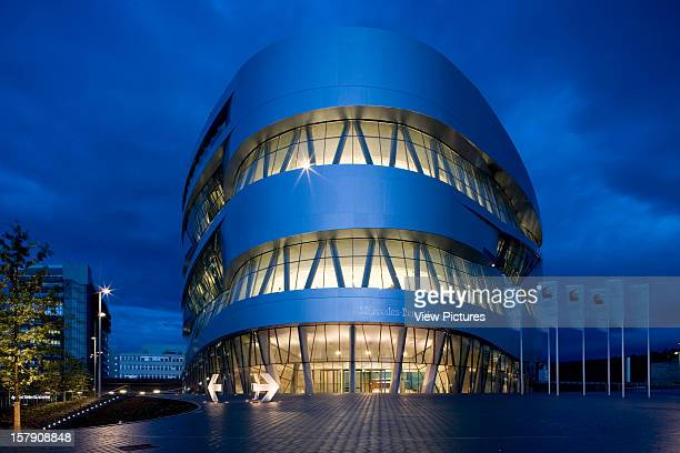 Mercedes Museum, Stuttgart, Germany, Architect Un Studio , Mercedes Museum Twilight Exterior From The Centre Front.