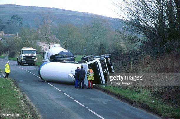 Mercedes petrol tanker overturned after road accident 2000