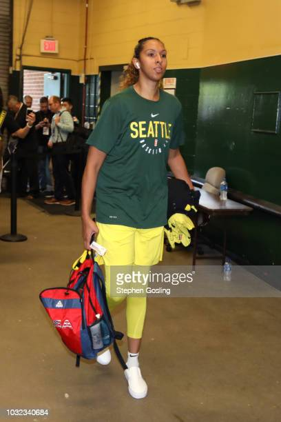Mercedes Russell of the Seattle Storm arrives before the game against the Washington Mystics in Game Three of the 2018 WNBA Finals on September 12...