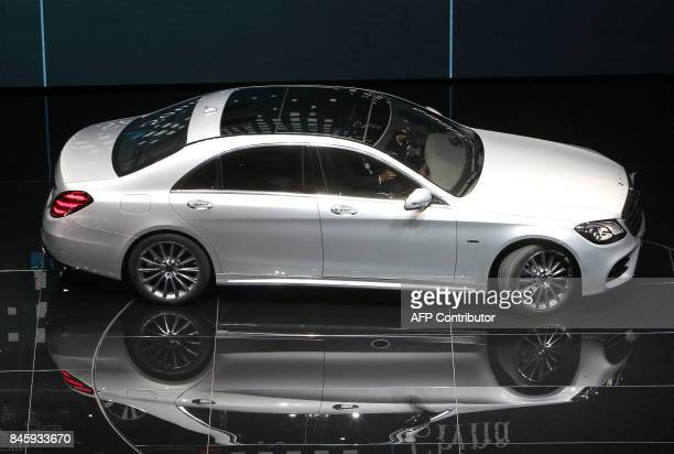 A Mercedes S 560 E is presented on stage at the Frankfurt Motor Show IAA in Frankfurt am Main western Germany on September 12 2017 According to...