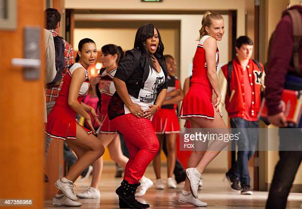 Mercedes Santana and Brittany perform in the Saturday Night Gleever episode of GLEE airing Tuesday April 17 on FOX
