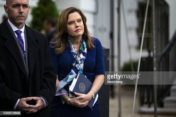 Mercedes Schlapp White House director of strategic communications listens as US President Donald Trump not pictured speaks to members of the media...