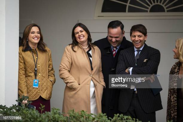 Mercedes Schlapp White House director of strategic communications from left Sarah Huckabee Sanders White House press secretary Dan Scavino Jr White...